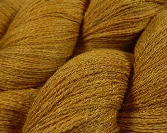 Hand Dyed Yarn - Lace Weight Silk / Merino Wool Yarn - Honey Mustard - Knitting Yarn, Lace Yarn, Tonal Yarn, Wool Silk Yarn, Gold Yellow