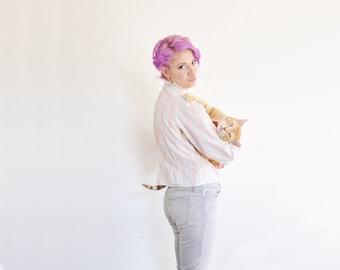 unicorn striped ruffle blouse . pastel high collar button up shirt .small.medium .sale s a l e