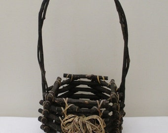 Vintage Primitive Rustic Adirondack Twig Basket with Handle