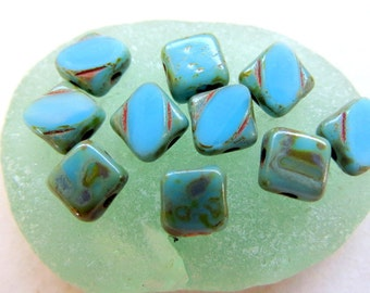NEW MAYAN BLUE Silkies . Czech Picasso Glass Beads . 6 mm  (25 beads)