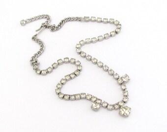 Vintage Rhinestone Necklace, Vintage Wedding Jewelry, Silver Tone Rhinestone Necklace, Rhinestone Choker, Bridal Jewelry, Wedding Bridal