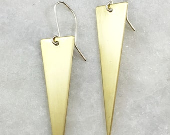 Long Brass Triangle Earrings | E21619