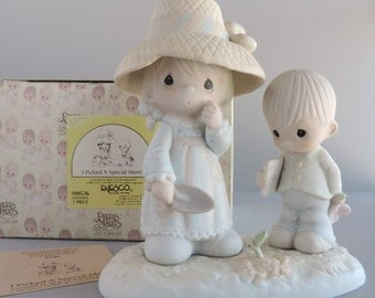 """Vintage Precious Moments """"I Picked A Special Mom"""" Figurine 100536, Mother Planting and Boy with Flower, Limited Edition, 1987 Cedar Tree"""