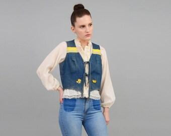 Vintage 70s Vest | Denim Vest | Cropped Vest | Blue Jean Vest | Boho Hippie Vest | Flower Patch Applique Waist Coat | Small XS S