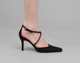 Vintage 80s 90s NINA Black Ankle Strap Heels Pointed Toe Shoes Size 6 EU 36