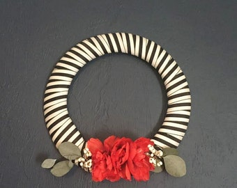 Black and white striped wreath with red flower accents, holiday home decor, unique house warming gift, kate spade inspired wreath