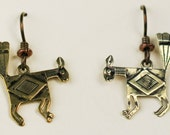 Southwest Mimbres Fantail Mythical Bird Bronze Earrings - Hypo Allergenic Niobium Ear Wires - Mimbres Bronze Fantail Animal Tribal Earrings