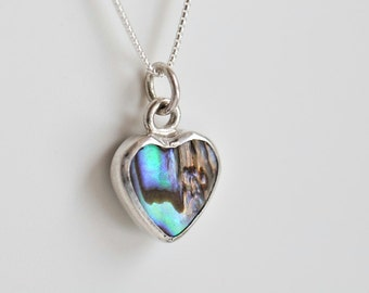Abalone shell heart pendant, two sided reversible pendant, valentines necklace, sterling silver chain included