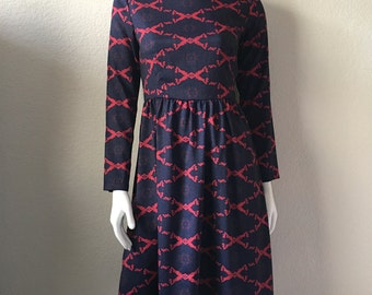 Vintage Women's 70's Boho Dress, Navy Blue, Red, Floral, Long Sleeve (S)