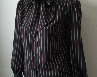 Vintage Women's 80's Black Blouse, Striped, Bow Tie, Polyester, Long Sleeve by Breckinridge (M)