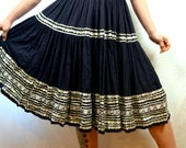 Vintage 1950s Skirt -  Squaw Patio Rockabilly Ric Rac Metal Talon