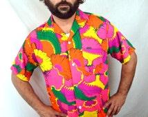 Men's Vintage Hawaiian Shirt - 1960s Waikiki Holiday Hawaii Neon Button Up Summer Shirt