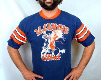 Vintage 80s Illinois Illini Native American Indian Ringer Jersey Tee Shirt Tshirt
