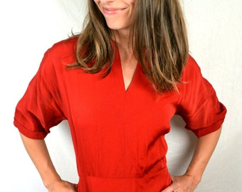 RARE Vintage 40s Maroon Red Rayon Dress  - Reich