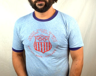 Vintage 1972 Munich Olympic Games Swimming Trials 70s RARE  Ringer Tee Shirt Tshirt - Chicago Illinois