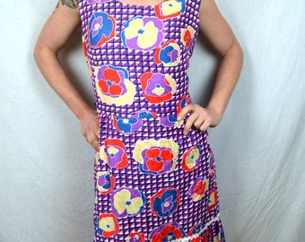 Vintage 1960s Liberty Circle Psychedelic Floral Neon Purple Summer Dress