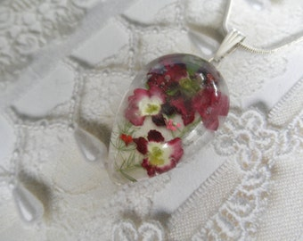 Passion Red & White Verbena,Queen Anne's Lace,Ferns Pressed Flower Glass Teardrop Pendant-Nature's Art-Symbolizes Enchantment-Gifts Under 30
