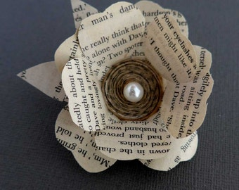 Flower Brooch, Paper Flower Brooch, Book Lover Gift, Recycled Paper Jewellery, Boutonniere, Literary Jewellery, Cream Flower Brooch