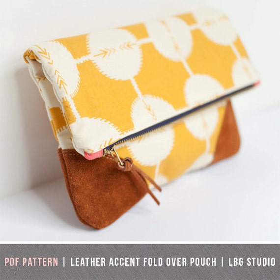 6707a218b6 PDF Sewing Pattern - Leather Accent Fold Over Pouch from LBGstudio ...