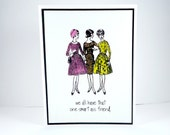 Smart ass friend card, funny birthday card, sarcastic friendship card, thinking of you, friend card, snarky card, funny note card