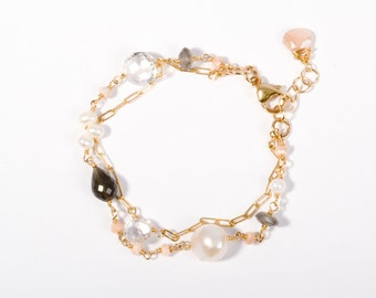 Delicate Bracelet, Gold Bracelet, Pink Stone, 14K Gold Bracelet, 14K Gold Jewelry, Beach Jewelry, Fine Jewelry, Delicate Gold Jewelry, Gold