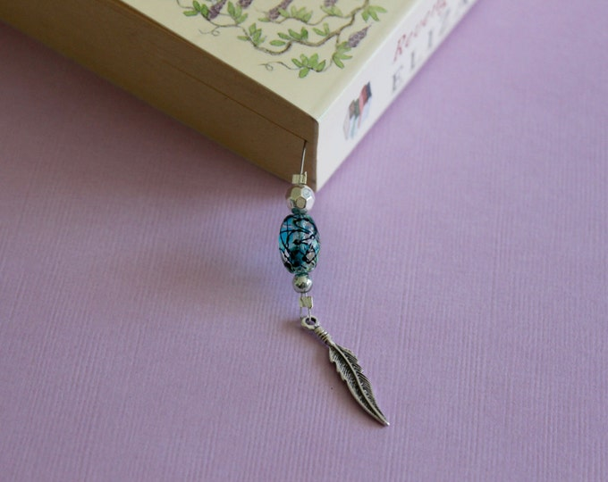 Turquoise Feather Beaded Bookmark/Book Thong.