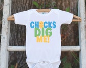 Boy Easter Outfit - Chicks Dig Me Onepiece - Boys Easter Shirt - Baby Chick Spring Bodysuit for Baby Boys - Pastel Kids Easter Outfit