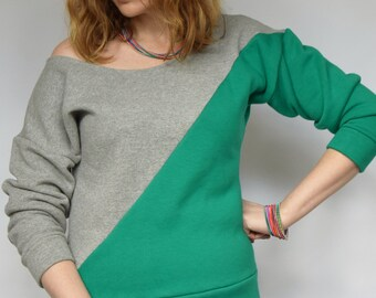 Batwing sweater Off shoulder sweater Jade green sweater Green gray sweater Green grey 2 tone sweater Colourblock jumper Colorblock sweater