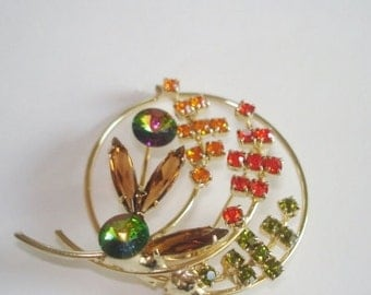 Wild Garden Flowers Vintage Jewelry Rhinestone  Brooch