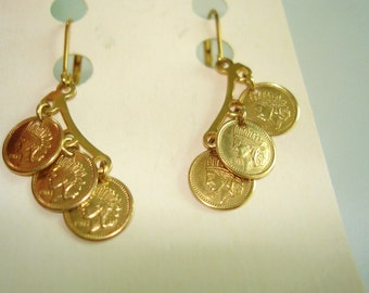 1803 Indian Heads Style Earrings Dangle Gold Tone