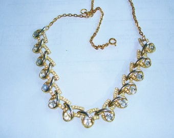 "Trifari Clear Rhinestone Gold Tone Necklace  19"" x .75"""