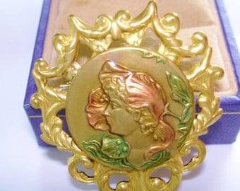 Art Nouveau Lady Vintage Jewelry Brooch Gold Tone Repousse
