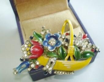Flower Crown Trifari Alfred Philippe' Vintage  Enamel Rhinestone Fur Clip Brooch  Vintage Jewelry Designer Alfred Philippe Pat 11910