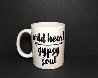 Wild Heart Gypsy Soul Mug   You pick color  Coffee   Tea   Handmade   Gift   Custom   Arrow   Wanderlust   Boho   Chic   Gift for Her  