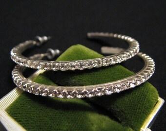 BIG Vintage Silver Tone Pave Crystal Diamond Rhinestone Hoop Pierced Earrings