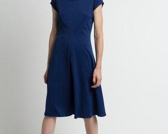 Vintage 70s Navy Short Sleeve Simple Normcore Midi Dress | S