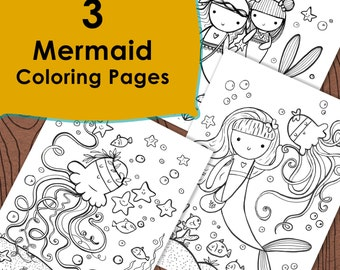 3 Mermaid Coloring pages, Under the sea, Ocean fun mermaid coloring pages