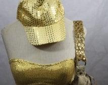 3 pc Party Set Gold sequin Bandeau Bra Sz M, Handbag, and Baseball Cap Shiny Metallic Bling Hat - Costume / Everyday Adjustable