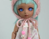 Pink and mint green bear hat for Pukifee / Lati Yellow