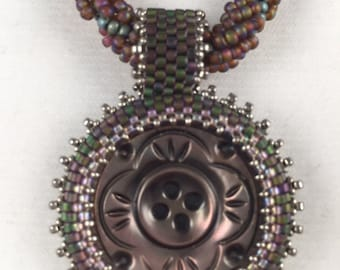 Vintage Carved Shell  Beaded Button Necklace by Marcie Stone