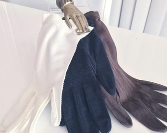 Lot of 3 Pair of Vintage Gloves -- leather and cloth -- Size S-M