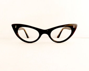 Vintage 1950s Cats Cateye Eyeglasses Frames Women's Black with Silver Stars Detail Made in USA Comes with Vintage Case  #M357 DIVINE