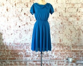 1970s Midi Dress Blue Pleated Fit & Flare Draped Collar Vintage Women's Dress S/M