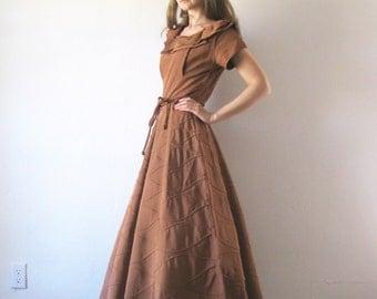 Vintage 1940s Dress Copper Taffeta Formal Gown Party Dress S