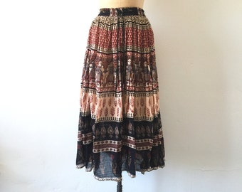 Vintage India Cotton Midi Skirt Boho Elephant Print S/M