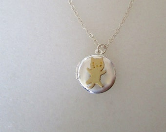 Cat Locket Necklace Personalized Locket Necklace, Gold Cat Jewelry, Tiny Locket Necklace, Birthday Jewelry, Little Girl Pendant Necklace