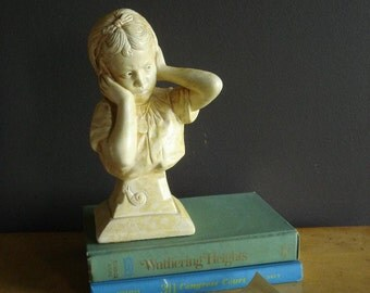 Keep it Down - Vintage Child's Bust - Esco Girl White Statue or Figurine - Bust of Child