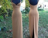 80s Dress by Patricia Bernal in Caramel/ Vintage Dress/ Evening Gown/ Sweetheart Neckline Size XS-S