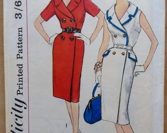60s Slenderette Wrap-around Dress Pattern - Simplicity 3406 - Size 14.5 Bust 35 - One Piece, Wrap Around 60's Dress Pattern - Half Size
