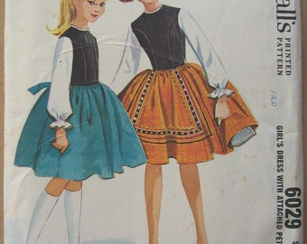 60's Dress with attached Petticoat - McCall's 6029 - Size 8 - Designed by Helen Lee - Vintage Full Skirt Dress Pattern - 60's Dress Pattern